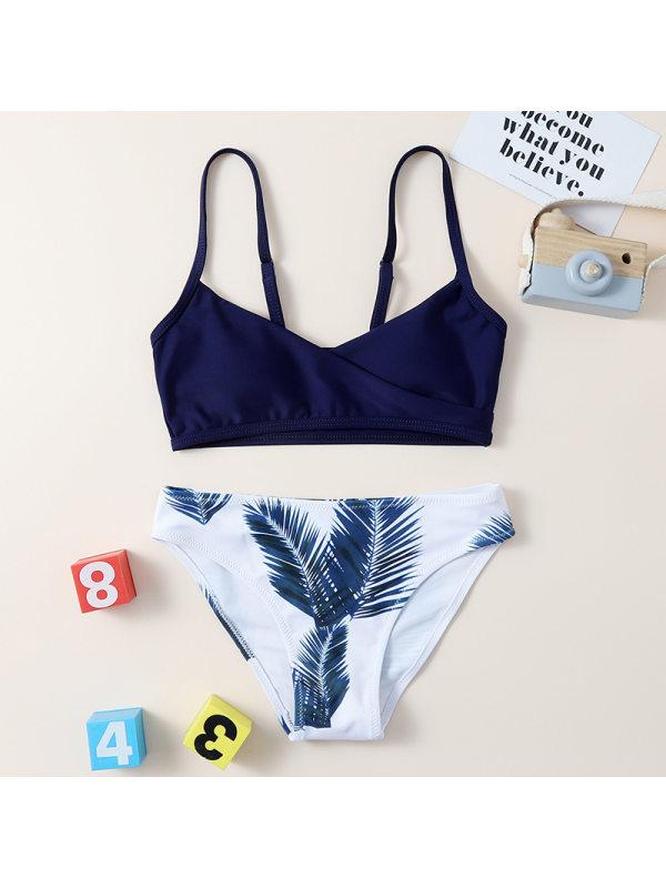 【6Y-13Y】Girls Leaf Print Split Bikini Swimsuit