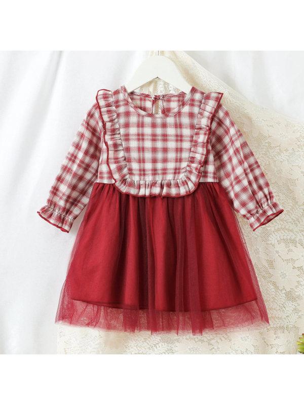 【6M-2.5Y】 Cute Plaid Mesh Red Dress