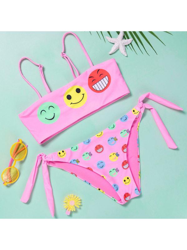 【6Y-13Y】Girls Cartoon Cartoon Print Bikini Split Swimsuit
