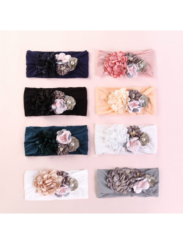 Nylon Silk Stitching Flower Baby Headband