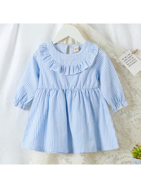【6M-2.5Y】Girls Cute Blue Striped Dress