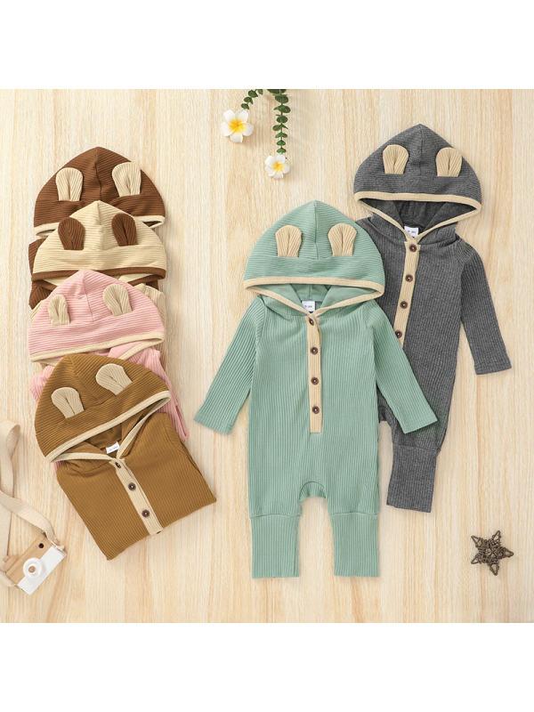 【0M-12M】Baby Long Sleeve Trousers Hooded Romper Romper Romper