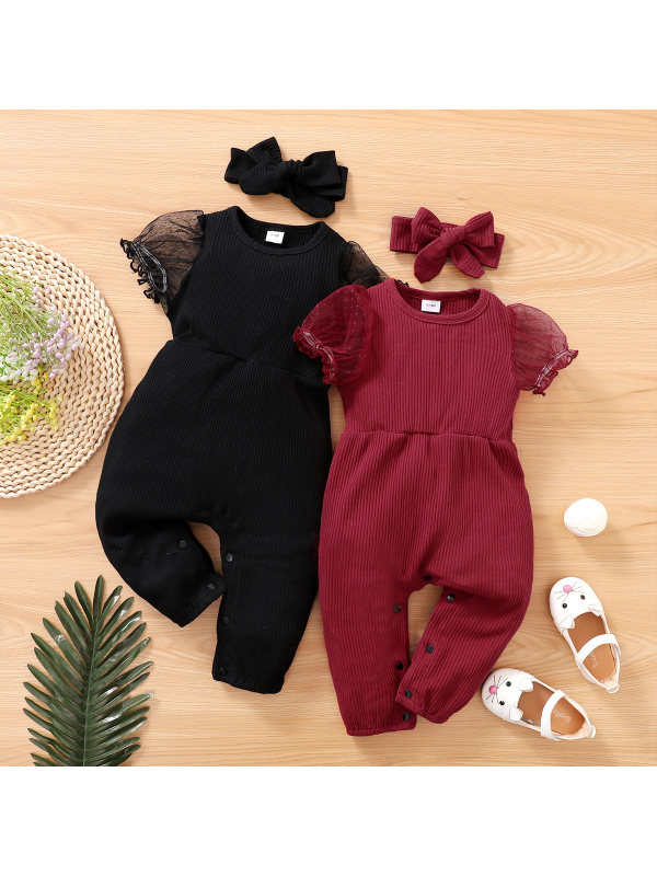 【0M-18M】Cute Puff Sleeve Solid Color Romper