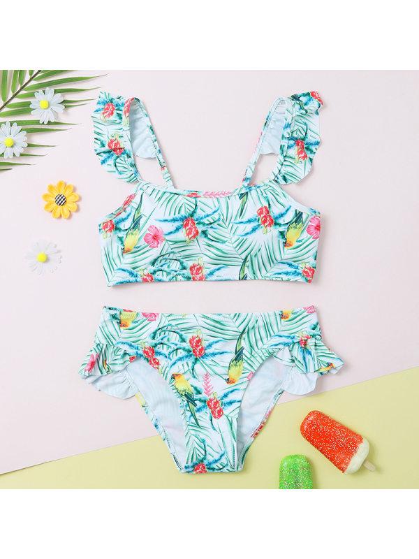 【6Y-13Y】Girls' Ruffled Flower Split Swimsuit