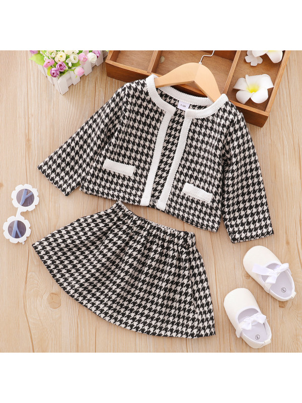 【3M-3Y】Sweet Classic Black and White Houndstooth Set