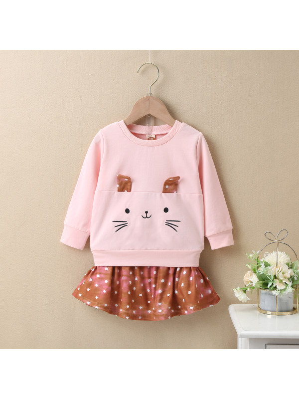 【3M-24M】Baby Autumn And Winter Animal Embroidery Polka Dot Suit Skirt