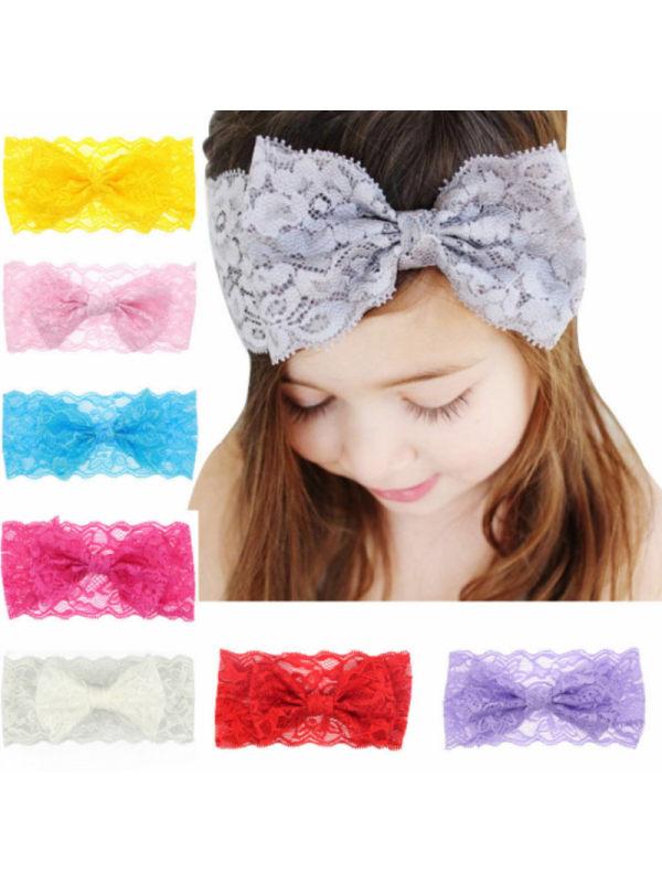 Girls Lace Unilateral Bow Headband