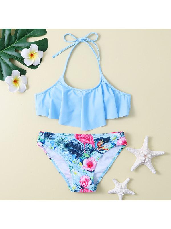 【6Y-13Y】Girls' Flamingo Ruffled Split Swimsuit