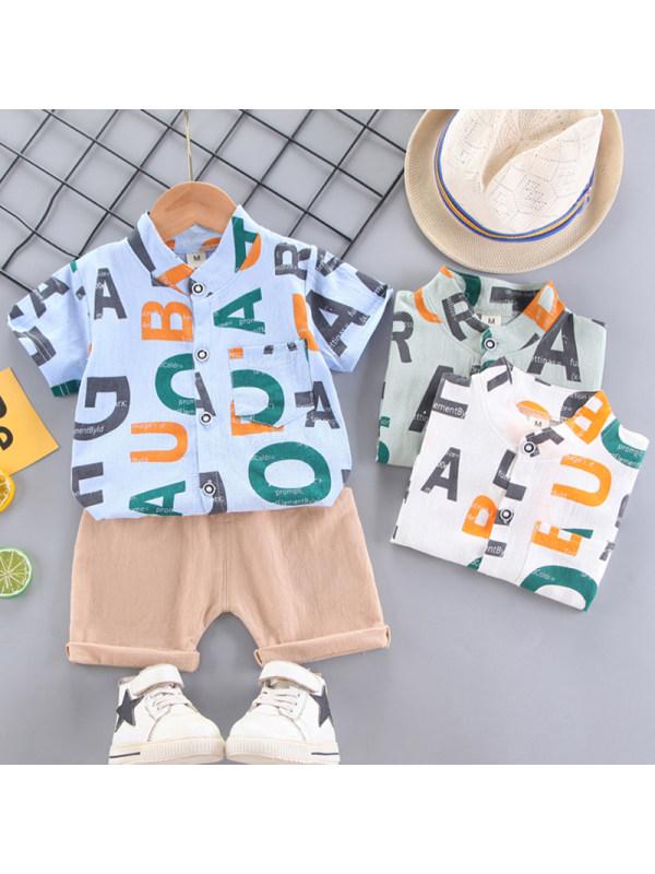 【12M-4Y】Boys Fashion Letter Pattern Shirt Shorts Set
