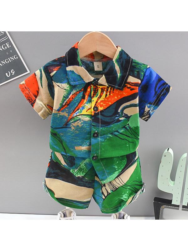 【12M-4Y】Boys Fashion Tie-dye Shirt Shorts Set