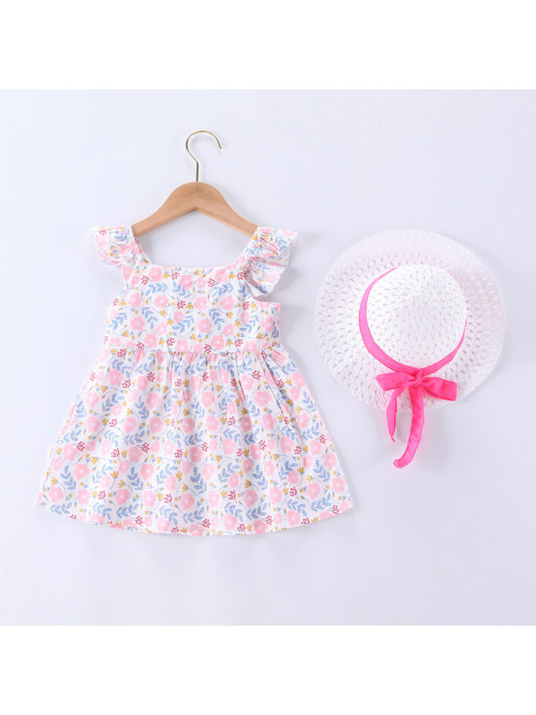 【12M-5Y】Girls Sling Floral Dress with Hat