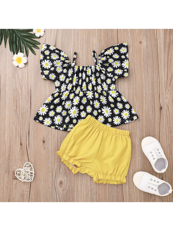 【0M-12M】Girls Sling Blouse and Shorts Two-piece Set