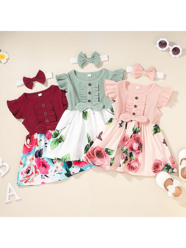 【3M-3Y】Girls Flower Print Dress