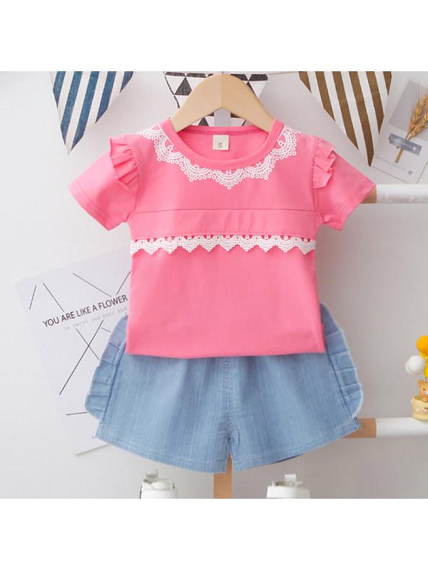 【12M-4Y】Girls Sweet Lace Short Sleeve T-Shirt Shorts Set