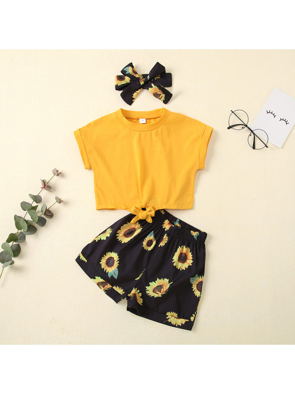 【2Y-7Y】Girls Solid Color Blouse with Sunflower Print Shorts and Headwear