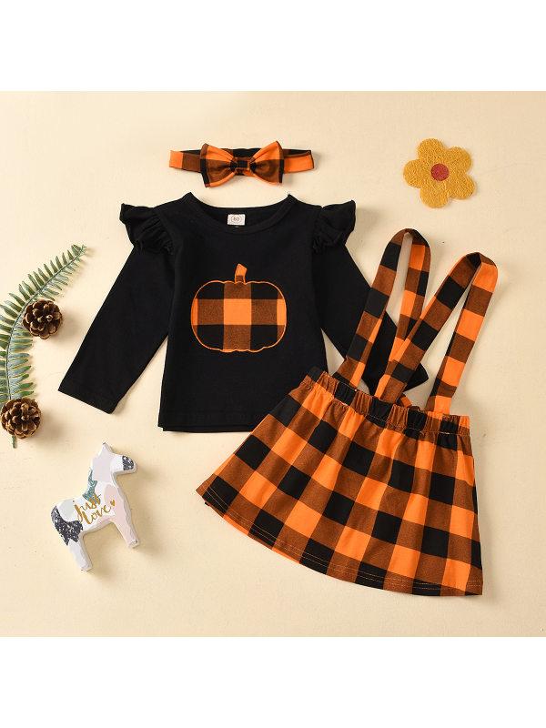 【3M-3Y】Girls Round Neck Black Blouse and Plaid Suspender Skirt Set