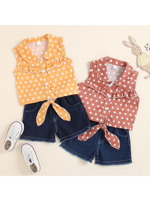 【18M-5Y】Girls Sleeveless Polka Dot Blouses and Denim Shorts Suit