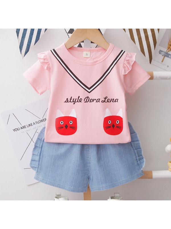 【12M-4Y】Girl Sweet Cartoon Pattern Short Sleeve T-shirt Shorts Set