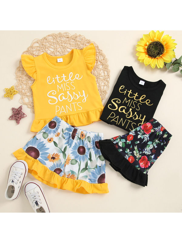 【12M-4Y】Girls Letters Printed Flying Sleeve Top Shorts Two-piece Set