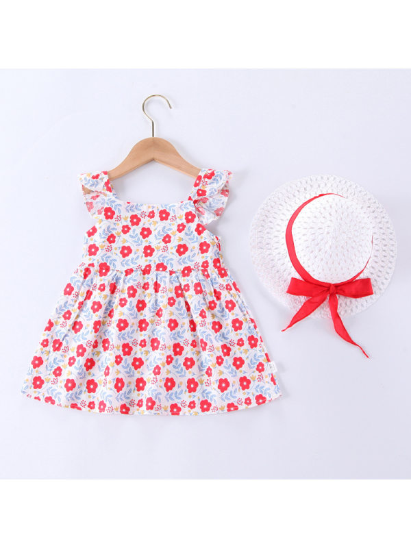 【12M-5Y】Girls Floral Sling Dress with Hat
