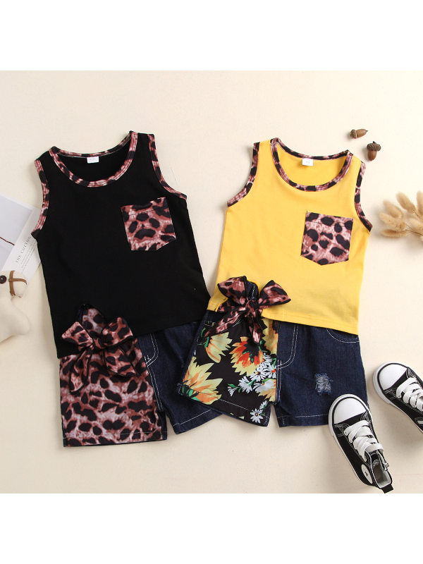 【18M-5Y】Girls Leopard Sunflower Print Stitching Sleeveless Top Jeans Suit