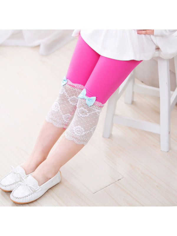 【3Y-11Y】Big Girl Modal Lace Bow Cropped Trousers Leggings
