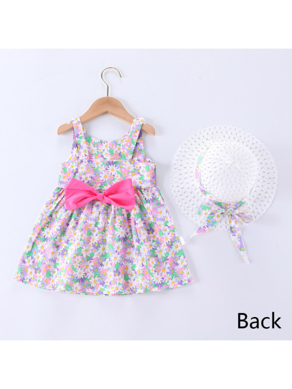 【12M-5Y】Girl Sweet Floral Sleeveless Dress with Hat