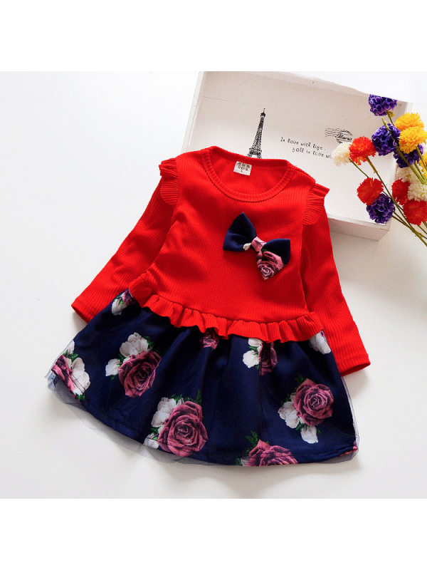 【18M-11Y】Girls' Long Sleeve Ladies Bowknot Stitched Dress