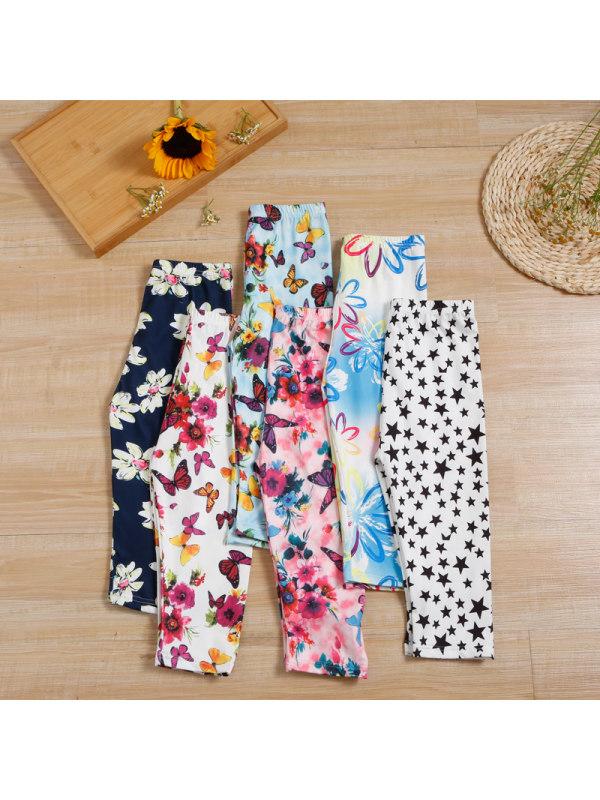 【3Y-11Y】Big Girl Milk Silk Cropped Trousers Printed Stretch Leggings