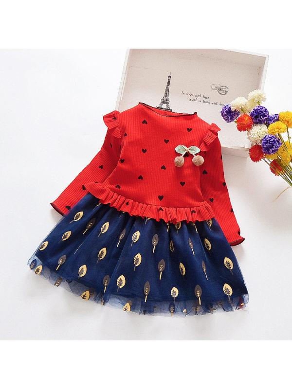 【18M-11Y】Girls' Long-sleeved Love Polka Dot Mesh Stitching Dress