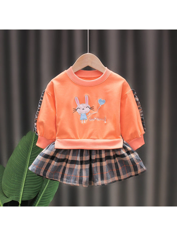 【18M-5Y】Fake Two-piece Sweatershirt Dress For Girls