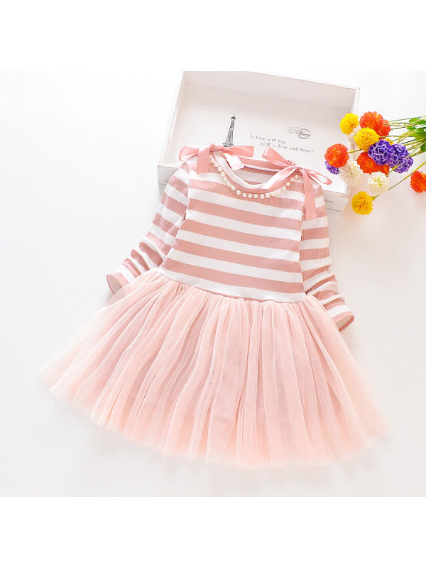 【18M-11Y】Girls Striped Long-Sleeved Mesh Dress