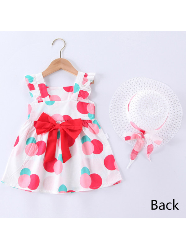 【12M-5Y】Girl Sweet Polka Dot Dress with Hat
