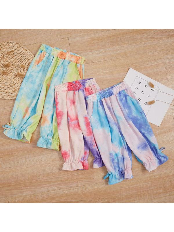 【18M-7Y】Girls' Tie-dye Butterfly End Leg Slacks