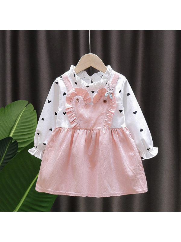 【12M-4Y】Girl's Fake Two-piece Long-sleeved Dress