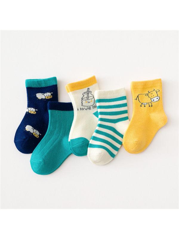 5 Pairs of Cartoon Kids Socks