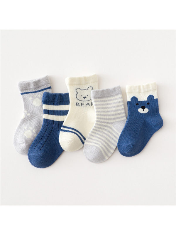 5 Pairs of Cartoon Middle Tube Socks Navy Blue Bear