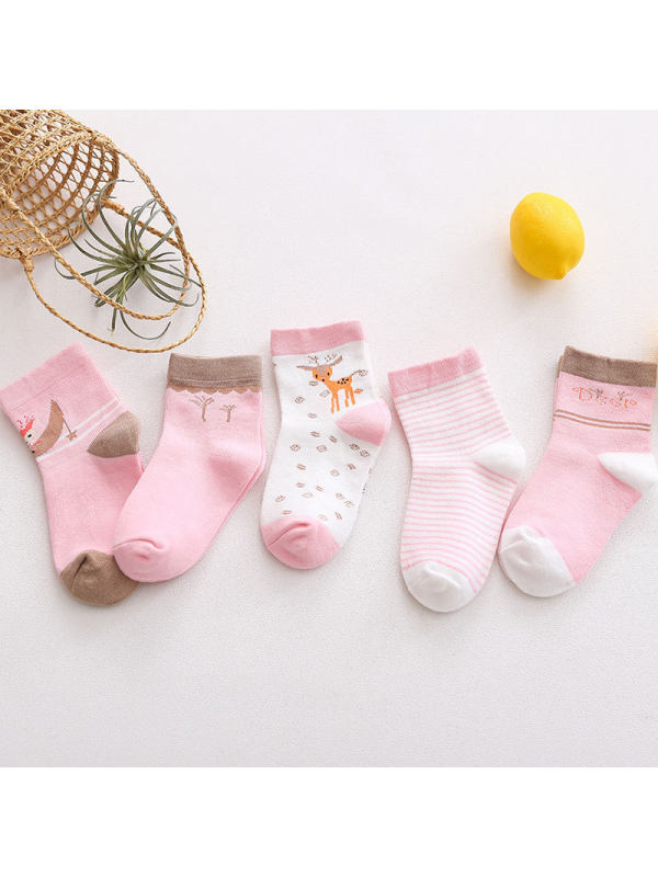 5 Pairs of Cartoon Kids Socks Pink Bunny