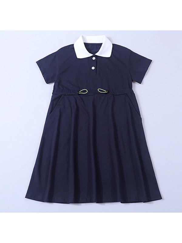 【4Y-13Y】Girls Casual Lapel Polo Dress