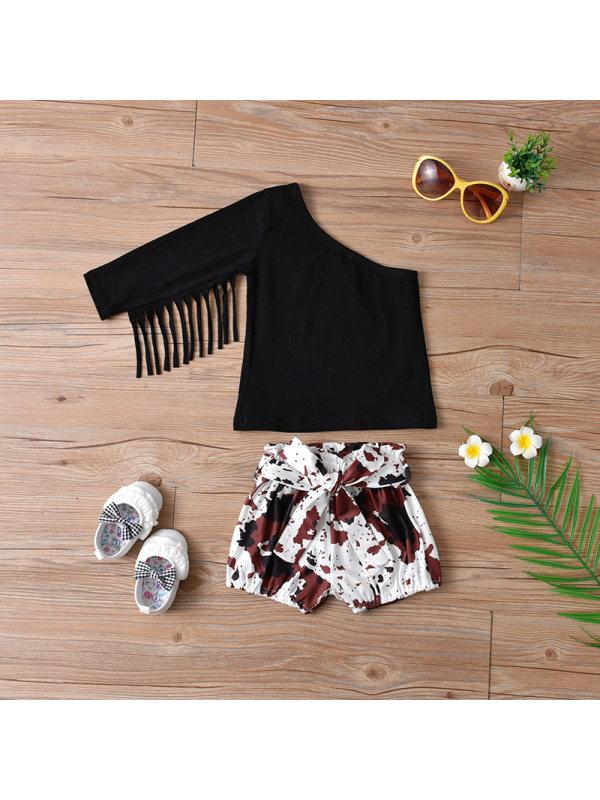 【12M-7Y】Girls Slanted Shoulder Single-sleeved Top Shorts Suit