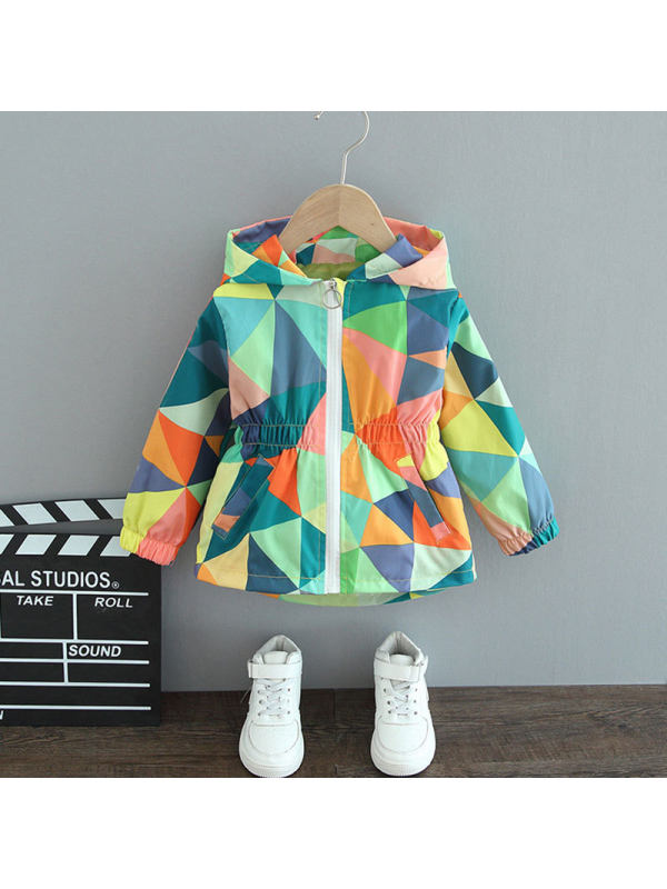 【12M-7Y】Girls' Waistband Hooded Geometric Print Trench Coat
