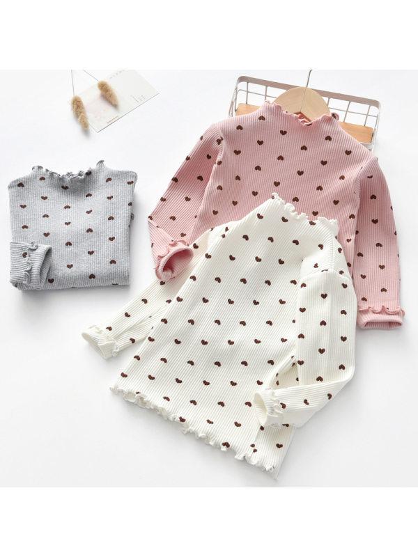 【3Y-11Y】Girls' Wood Ear Collar Floret Long Sleeve Bottoming Shirt T-shirt
