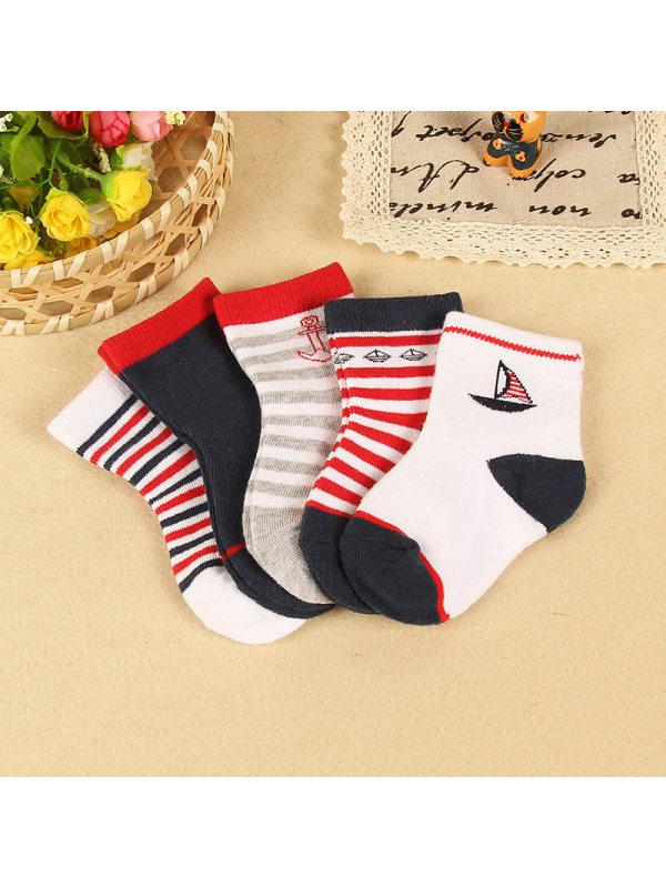 5 Pairs of Nautical Style Kids Socks