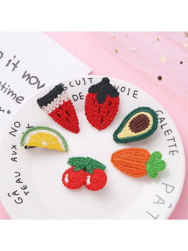6-piece Set Of Cute Fruit Hairpins