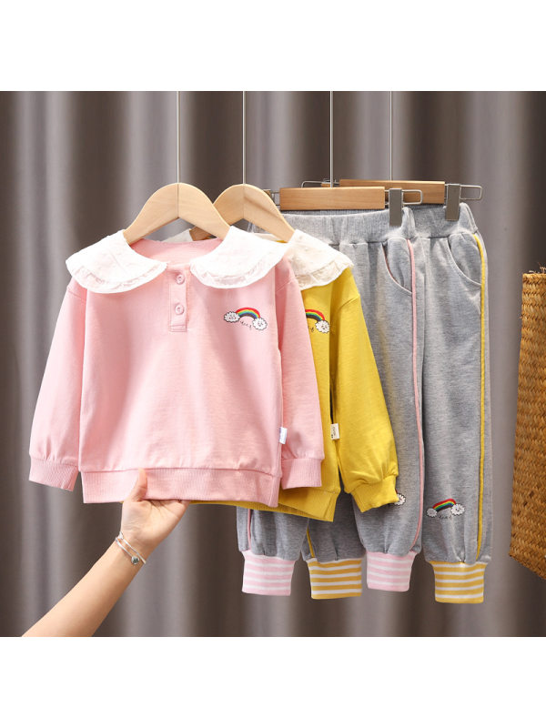 【12M-4Y】Girls Cartoon Print Doll Collar Long-Sleeved Sweatshirt And Casual Trousers Suit