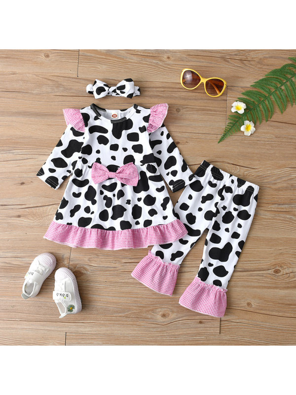 【12M-5Y】Girls Black And White Cow Print Suit