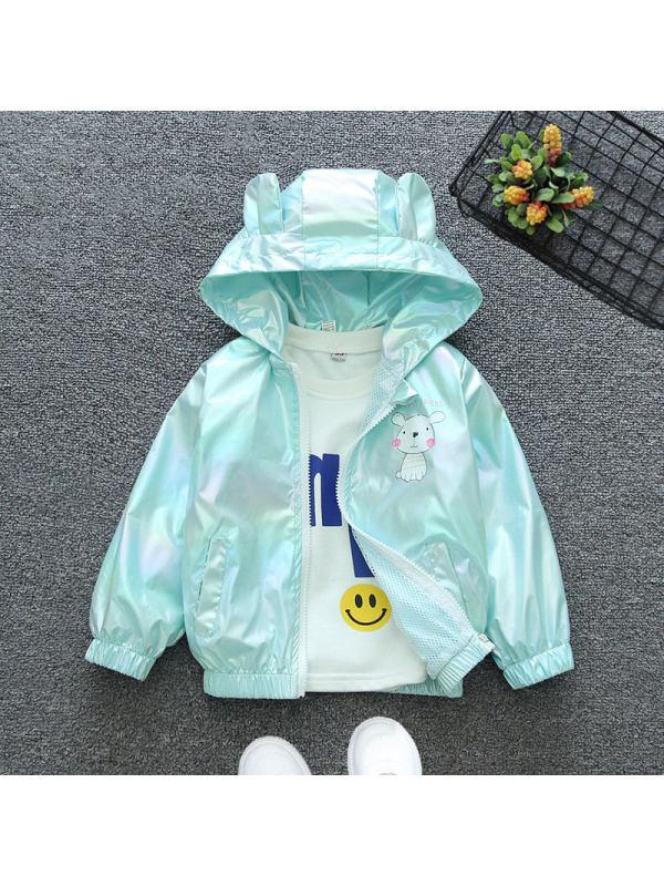 【12M-7Y】Girls Shiny Cartoon Print Hooded Jacket