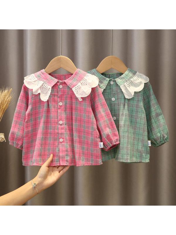 【12M-5Y】Girls Print Long Sleeve Lace Lapel Shirt