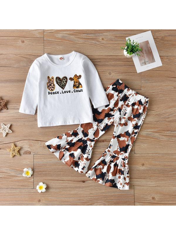 【12M-5Y】Girls Leopard Print Long-sleeved Top Trousers Suit