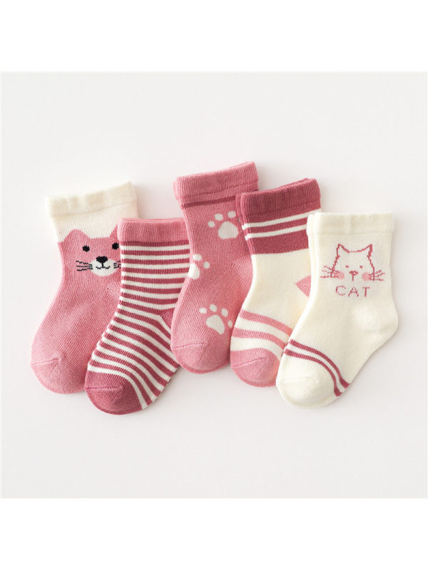 5 Pairs of Cartoon Middle Tube Socks Pink Cat